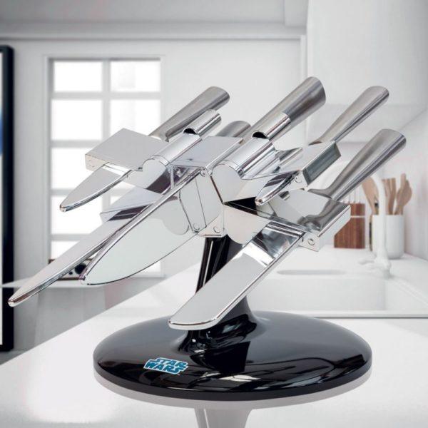 Porte couteaux X-Wing Star Wars avec 5 couteaux de cuisine